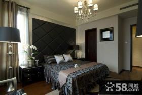 宜家样板间卧室床头软包背景墙效果图