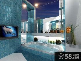 蓝色地中海风格厕所装修效果图大全2014图片