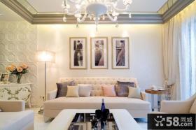 简欧沙发背景墙装饰画图片