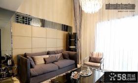 现代风格客厅沙发软包皮背景墙效果图