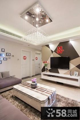 新婚客厅电视背景墙壁纸图片