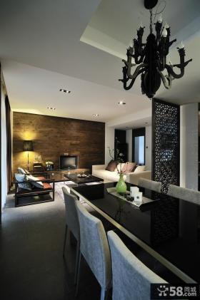 2013现代两居室客厅连餐厅装修效果图