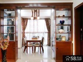 家庭餐厅实木置物架隔断效果图片