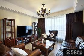 美式装修室内客厅电视背景墙
