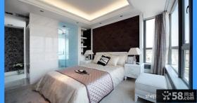 2013欧式风格简单时尚高档别墅明星卧室软包床头背景墙吊顶单色窗帘带卫浴装修效果图片