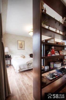 美式风格室内书架隔断家居图片