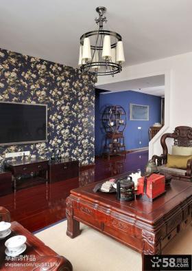 中式客厅壁纸电视墙效果图欣赏