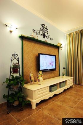 田园客厅电视背景墙装饰图片