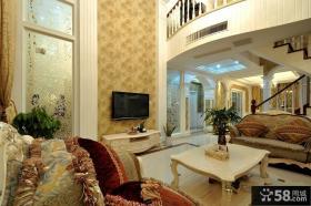 欧式风格豪华时尚客厅电视背景墙装修效果图