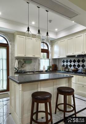 美式别墅室内厨房吧台设计效果图片图片