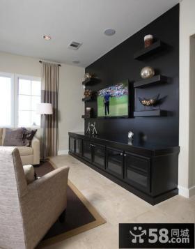 现代风格客厅电视背景墙装饰图片