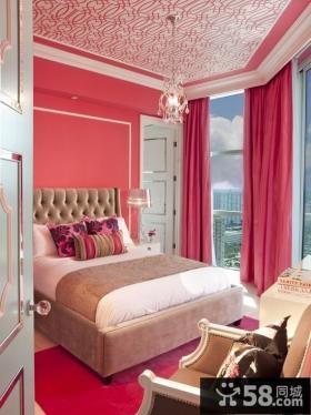 粉色系卧室吊顶装修效果图大全2012图片 婚房卧室窗帘图片