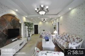 欧式田园风格客厅电视背景墙设计