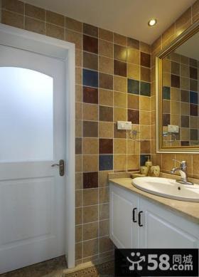 美式家居卫生间瓷砖色彩搭配效果图