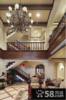 美式挑高客厅吊顶装修效果图