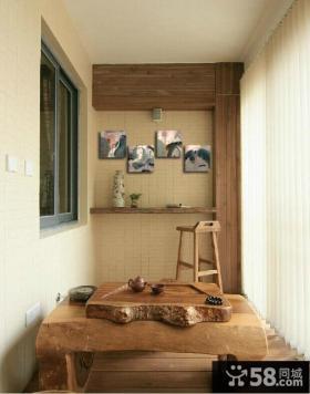 日式原木封阳台装潢