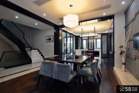 中式风别墅楼梯间餐厅装修设计图片