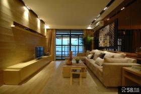 整体客厅木质电视背景墙装修效果图片