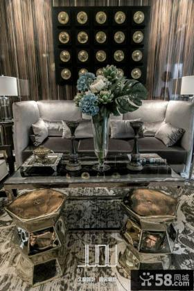 美式新古典风格沙发背景墙图片