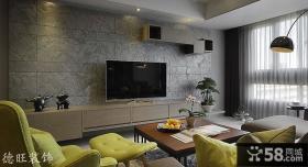 简约风格客厅瓷砖电视背景墙装修效果图