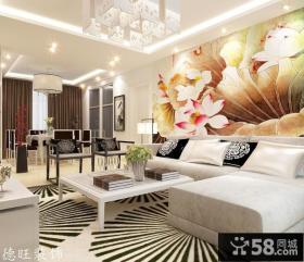 现代中式客厅沙发背景墙装修效果图