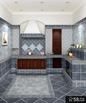 地中海风格开放式瓷砖厨房效果图
