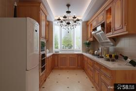 美式长方形厨房整体橱柜效果图