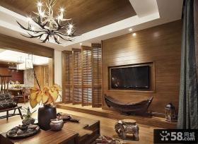 东南亚设计家居客厅电视背景墙