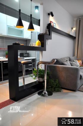 客厅与厨房吧台隔断设计