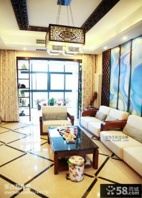 中式风格家装客厅沙发背景墙效果图欣赏