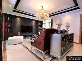 新古典风格别墅客厅电视墙效果图