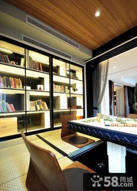 新中式风格别墅书房室内效果图