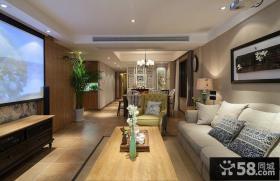 田园简约风格两室一厅90平米装修效果图大全2014图片