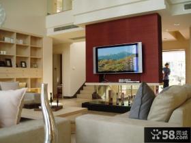 现代复式楼客厅电视背景墙效果图