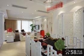 新中式室内客厅餐厅吊顶效果图