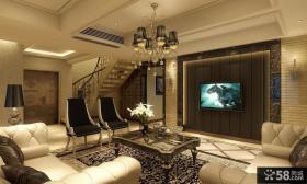 现代复式客厅电视背景墙装修效果图