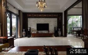 最新中式客厅电视背景墙效果图大全2013图片
