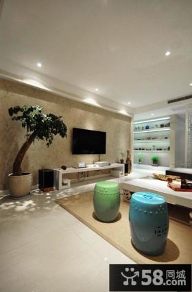 新中式风格客厅电视背景墙壁纸图片