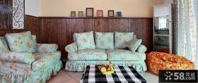 美式田园风格客厅布艺沙发图片欣赏