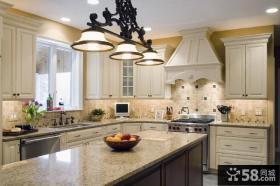 欧式L型开放式厨房装修效果图