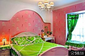绿色家居卧室墙纸效果图