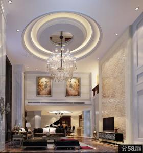 新中式别墅客厅吊顶造型效果图片