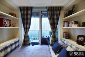 简约卧室小阳台遮光窗帘图片