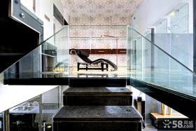 现代时尚别墅楼梯玻璃扶手图片