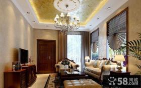 中国豪华欧式别墅客厅装饰设计效果图