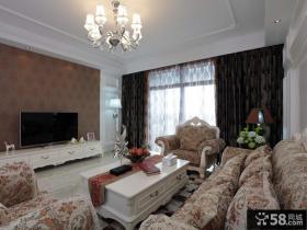 欧式田园风格二居客厅壁纸电视墙效果图