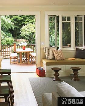 欧式客厅阳台飘窗装修设计效果图