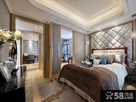 简欧主卧室床头软包背景墙效果图