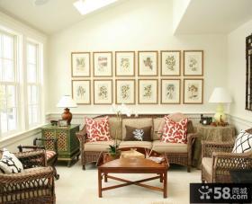 美式设计客厅相片墙图片大全欣赏