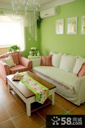 欧式风格绿色小户型客厅家具图片